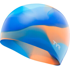 TYR Tie Dye Silicone Swim Cap Juniors Blue/Orange